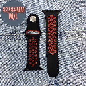 42/44mm M/L Apple Watch Band Sport Red Black NEW Silicone